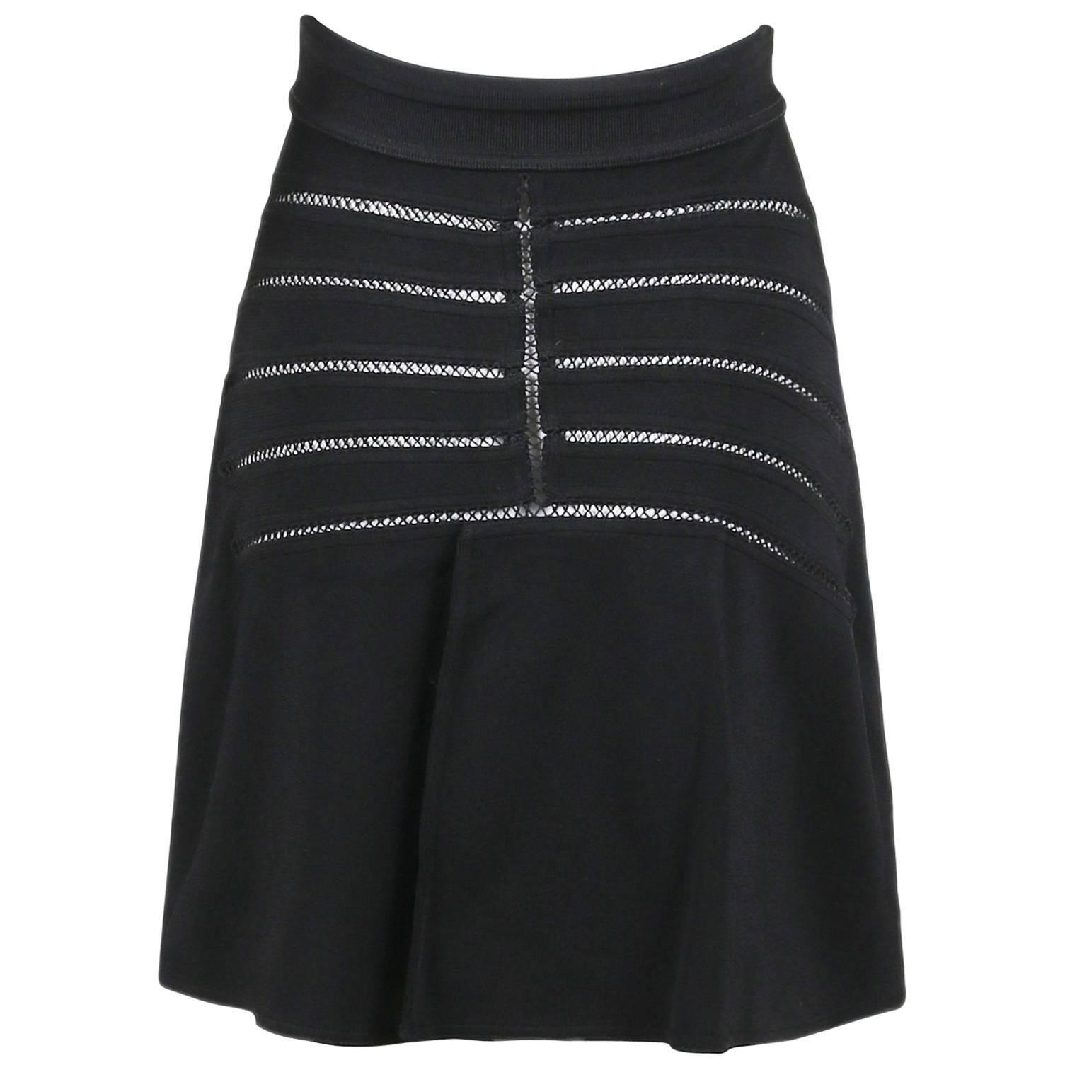 Alaia Black Stretch A-Line Mini Skirt W/Crochet Detail
