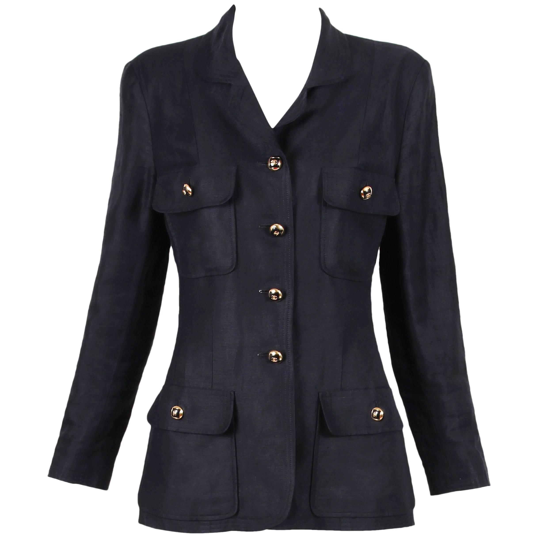 1986 Chanel Black Linen Blazer Jacket w/Black & Gold CC Logo Buttons