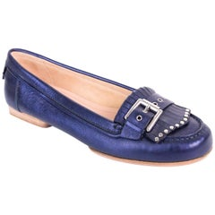 Gianvito Rossi Metallic Blue Leather Studded Buckle Moccasins
