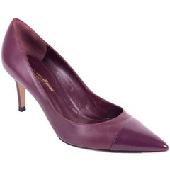 Gianvito Rossi Purple Leather Pointed Cap-Toe Classic Pumps