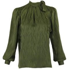 1970's Yves Saint Laurent YSL Green Silk Blouse W/Neck Ties & Wave Pattern