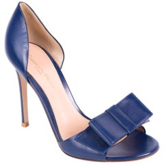 Gianvito Rossi Blue Leather Open Toe Bow Accent Heeled Sandals