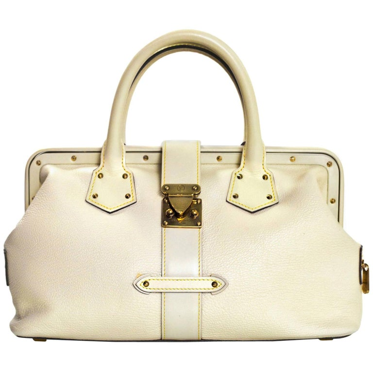 0ba0cef9fd92 Louis Vuitton Blanc White Leather Suhali L Ingenieux PM Doctor Frame Bag  For Sale