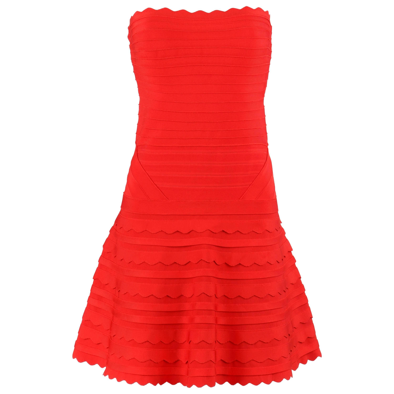 "HERVE LEGER c.2012 ""Phoebe"" Poppy Red Scallop Edge Bandage Knit Cocktail Dress"