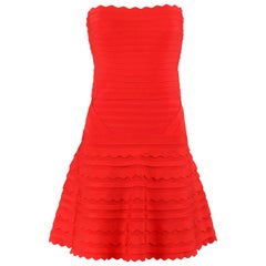 "HERVE LEGER c.2012 ""Phoebe"" Poppy Red Scallop Edge Bandage Knit Cocktail Dress"