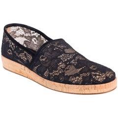 Gianvito Rossi Black Floral Lace Cork Sole Espadrille Flats