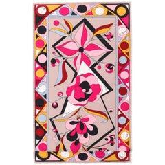 EMILIO PUCCI Firenze Fuchsia Multicolor Floral Signature Print Oblong Silk Scarf