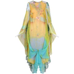 Vintage Mr. Blackwell Yellow & Blue Layered Printed Caftan W/Ties & Ruffle Hem
