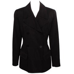 Donna Karan Black Double Breasted New York Blazer