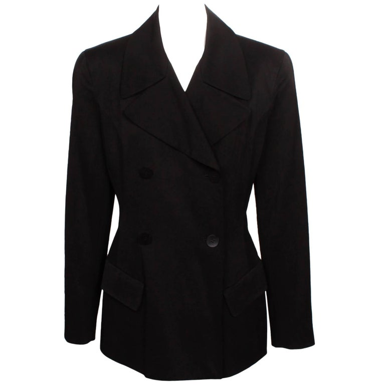 Donna Karan Black Double Breasted New York Blazer