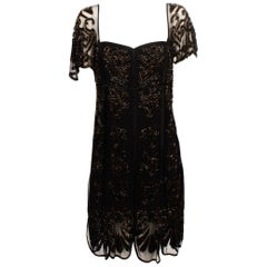 Temperely London 1920's Style Beaded Veil Cocktail Dress