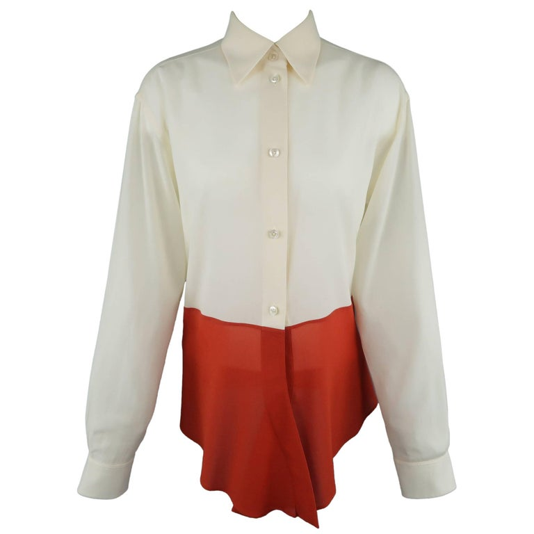 Hermes Vintage Beige and Orange Color Block Silk Chiffon Blouse