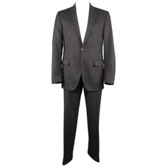 Ralph Lauren Men's 42 Long Charcoal Pinstripe Wool Cashmere Notch Lapel Suit