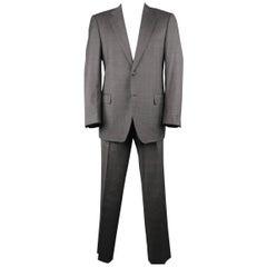 Men's LANVIN 42 Long Dark Gray Glenplaid Wool Notch Lapel 2 pc Suit