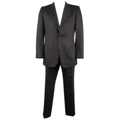 Men's  YVES SAINT LAURENT 42 Regular Black Wool Felt Notch Lapel Suit