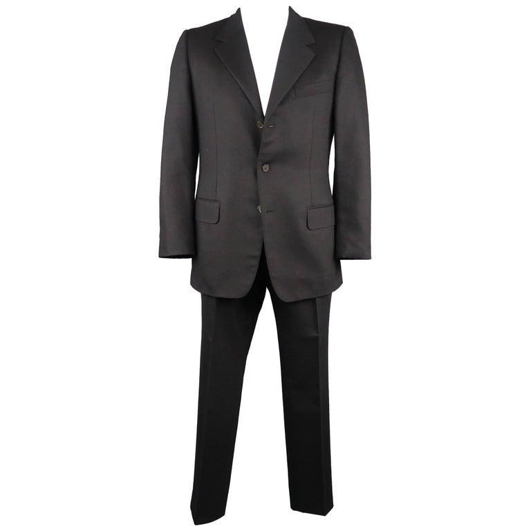 Men's  YVES SAINT LAURENT 42 Regular Black Wool Felt Notch Lapel Suit
