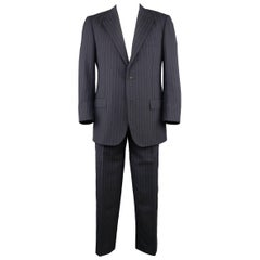Men's KITON 42 Regular Navy Pinstripe Wool Notch Lapel Suit