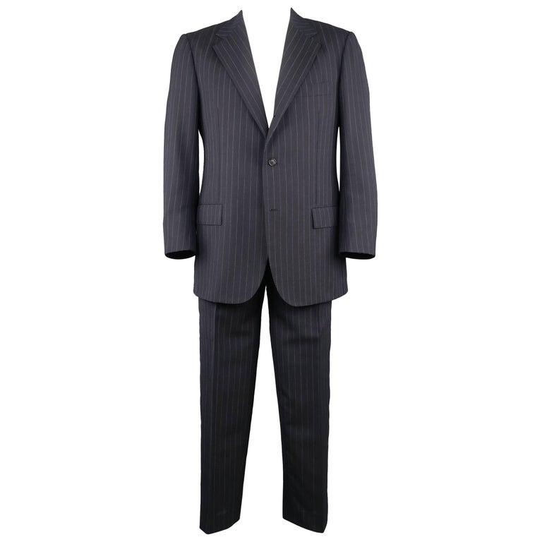 Men's KITON 42 Regular Navy Pinstripe Wool Notch Lapel Suit For Sale