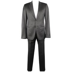 Men's GIORGIO ARMANI 42 Charcoal Window Pane Wool Notch Lapel 2 pc Suit