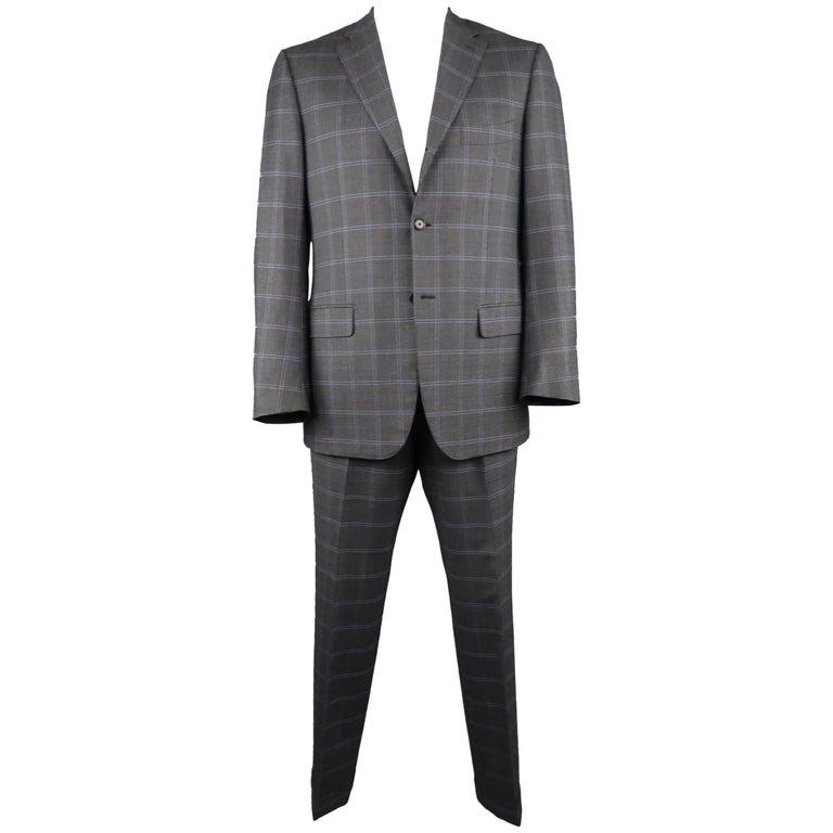 b6554f746da0 Men's ISAIA 42 Regular Charcoal & Blue Window Pane Wool Notch Lapel Suit ...