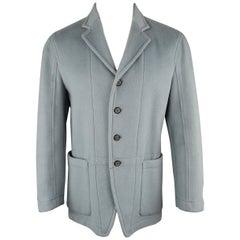 Men's JOHN BARTLETT 38 Light Blue Solid Wool / Angora Felt Notch Lapel Jacket