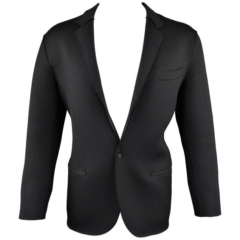 Men's LANVIN M Black Neoprene Single Snap Notch Lapel Sport Coat