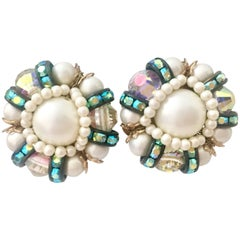 50'S Gold Plate Faux Pearl & Aurora Borealis Glass Bead Earrings By, Hobe