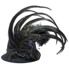 Stunning Rare Rare Chanel CC Logo Rabbit Felt Hat and Feather Black Size M