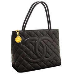 CHANEL Caviar Medallion Gold Shoulder Bag Shopping Tote Black