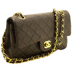 "CHANEL Brown 2.55 Double Flap 9"" Chain Shoulder Bag Quilted Lamb"