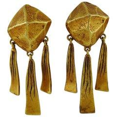 """Hermes Vintage Gold Toned """"Nugget"""" Dangling Earrings"""
