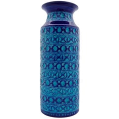 Bay Keramik West Germany Large Pottery Blue and Turquoise Vase, circa 1970s