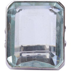 Silver and Emerald Cut Pale Aqua Glass Statement Ring, circa 1970s