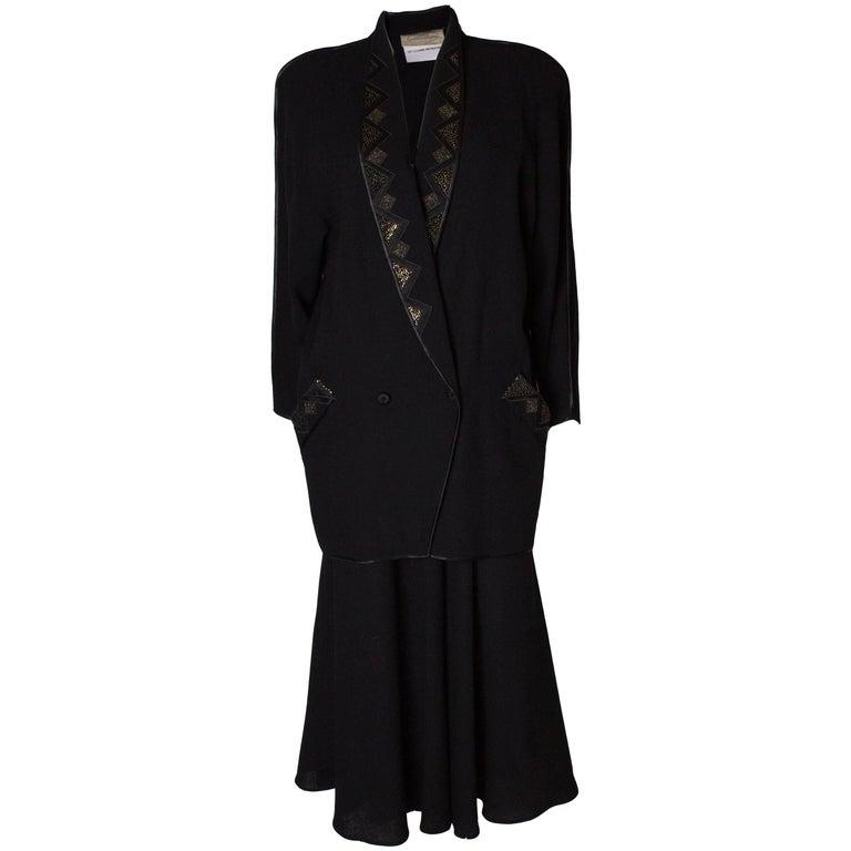 Janice Wainwright Vintage Black Wool Crepe Skirt Suit