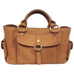 Celine Tan Multi Pocket Sophisticated Leather Satchel