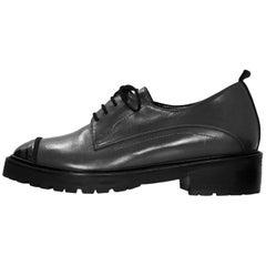 Ritch Erani NYFC Grey Leather Oxford Shoes Sz 37.5 NEW