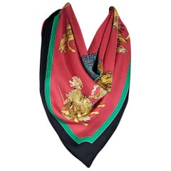 Multicolor Hermes Printed Silk Scarf