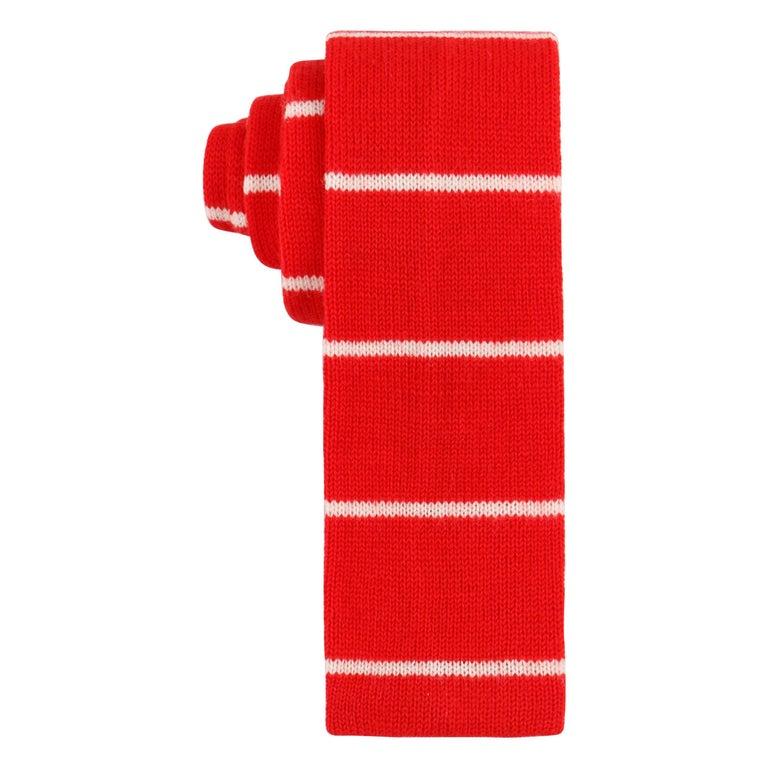 GUCCI c.1980's Red & Off White Striped Wool Knit Necktie Tie NOS