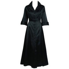 1955 Chanel Haute-Couture Black Satin Wide Cuff Full-Length Princess Dress Coat