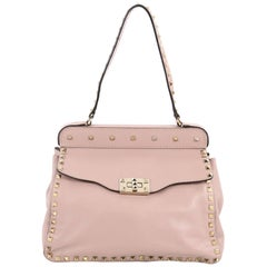 Valentino Rockstud Frame Top Handle Bag Leather Small