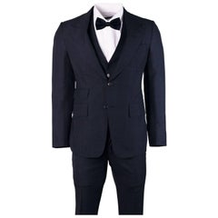 Tom Ford Mens Large Check Navy Wool Blend Shelton 3 Piece Suit