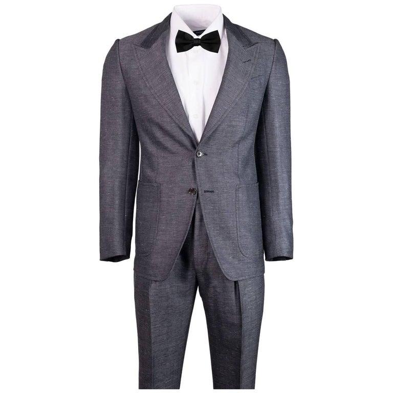 Tom Ford Grey Wool Blend Salt Pepper Texture Shelton Suit