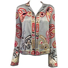 Eclectic Emilio Pucci Oriental Inspired White, Red, Grey & Taupe Print 2 pc. Set
