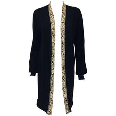 Emilio Pucci Black Wool with Silver Tone Beaded Decorated Open Jacket