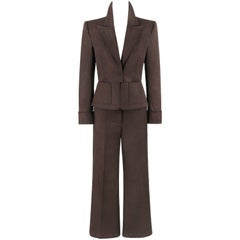 YVES SAINT LAURENT S/S 2003 YSL 2 Pc Olive Brown Peplum Blazer Pants Power Suit