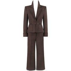 YVES SAINT LAURENT S/S 2003 YSL 2 Pc Olive Brown Peplum Blazer Pants Power Suit