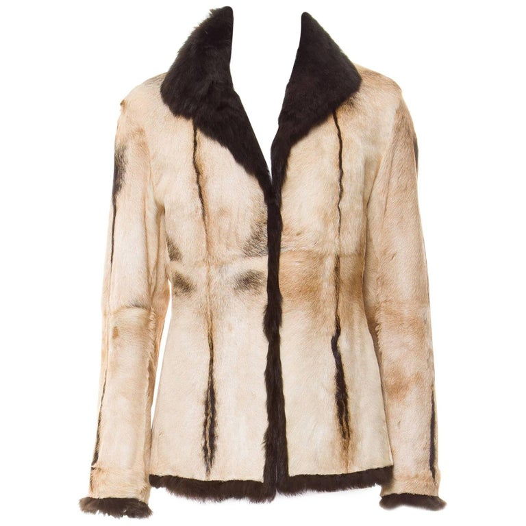 New Tom Ford for Gucci 1999 Collection Reversible Beige Fur Jacket It. 42