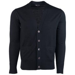 Tom Ford Black 100% Wool Two Pocket Slots Button Down Cardigan