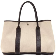 Hermes Garden Party PM Chocolate Brown Leather Beige Canvas Hand Bag