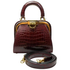 Christian Dior Vintage Rare Doctor Style Micro Handbag in Alligator Leather